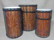 African Dun Dun Set of Three Drums Natural Skins