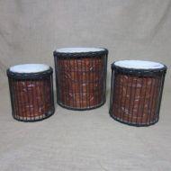 African Dun Dun Set of Three Drums Stumpy Natural Skins